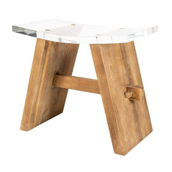 SGABELLO IN TEAK NATURALE E PLEXIGLASS ZEN CLEAR STOOL