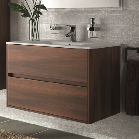 MOBILE BAGNO CON LAVABO IN PORCELLANA ACACIA MARRONE | TULLE