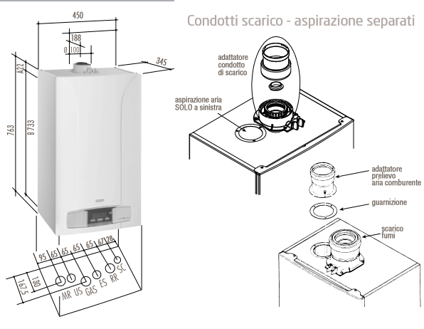 BAXI ECO 2FI - scheda tecncica, manuale istallazione, dima