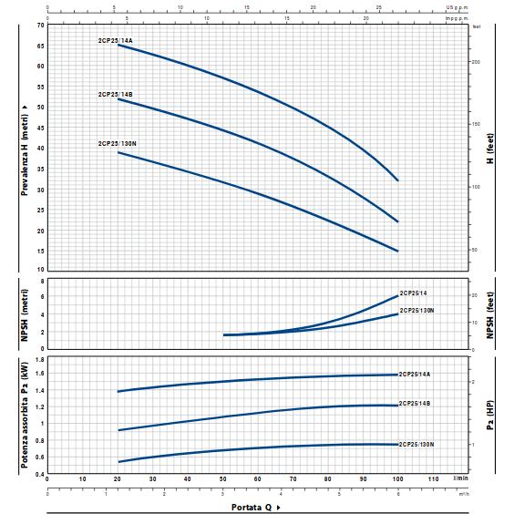 Curve di prestazione pompa pedrollo 2cp