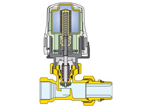 Testa termostatica caleffi per valvola termostatilizzabile for Disegno impianto riscaldamento a termosifoni