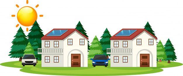 disegno di case con pannelli solari con accumulo