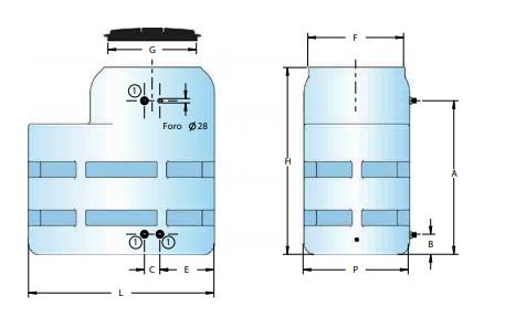 serbatoio in polietilene da 300 litri ovale