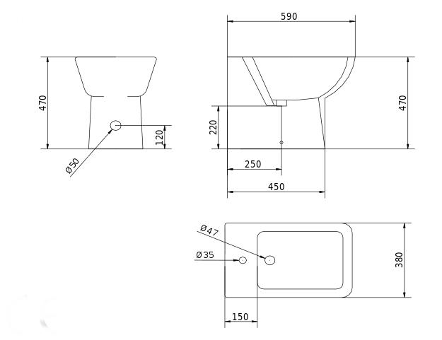 Bidet design sanitari bagno squadrati ever style 47 - Misure bagno minimo ...