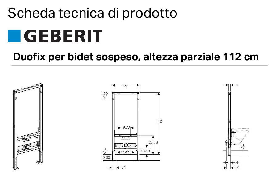 Duofix per bidet sospeso 112 cm altezza for Altezza lavabo sospeso