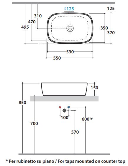 Lavabo globo genesis visone lavandino misure 55x37 - Misure bagno minimo ...