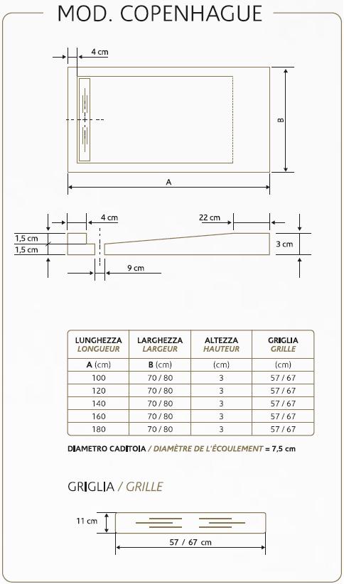 Elegante piatto doccia rettangolare o quadrato copenhague - Dimensioni piatto doccia rettangolare ...