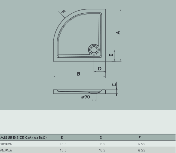Piatto doccia semicircolare base angolare varie misure - Piatto doccia piccole dimensioni ...