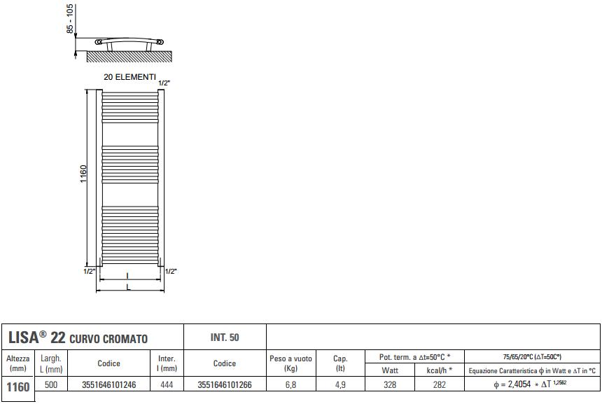 Scaldasalviette cordivari lisa22 termoarredo cromato curvo 120x50 - Termoarredo bagno misure ...