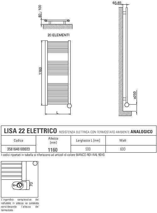 Schema Elettrico Termostato Ambiente : Scaldasalviette elettrico cordivari con termostato lisa