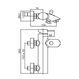 disegno tecnico paffoni berry vasca con duplex