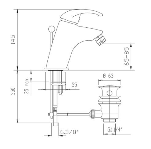 disegno tecnico e dimensioni Fromac eva miscelatore bidet