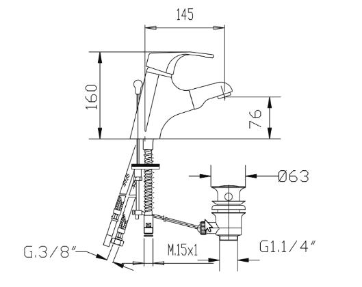 disegno tecnico rubinetto estraibile per lavabo