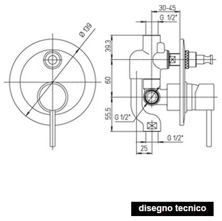 disegno tecnico paini cox miscelatori doccia