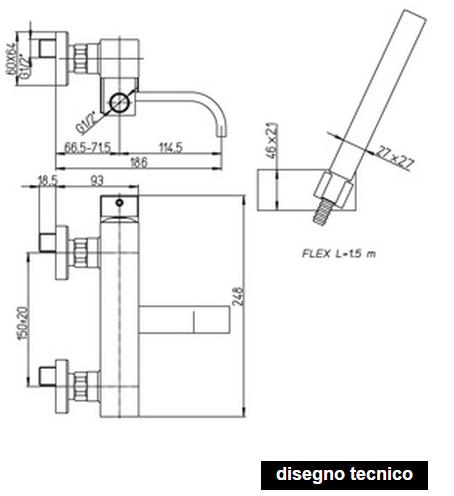 disegno tecnico paini dax vasca