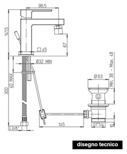 disegno tecnico rubinetto bidet paini dax
