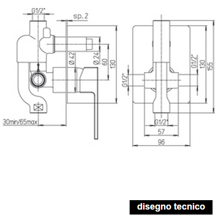 disegno tecnico paini dax doccia con deviatore