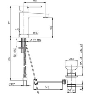 disegno tecnico rubinetto lavabo paini