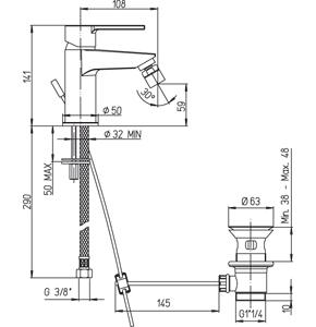 disegno tecnico miscelatore bidetrubinetteria paini