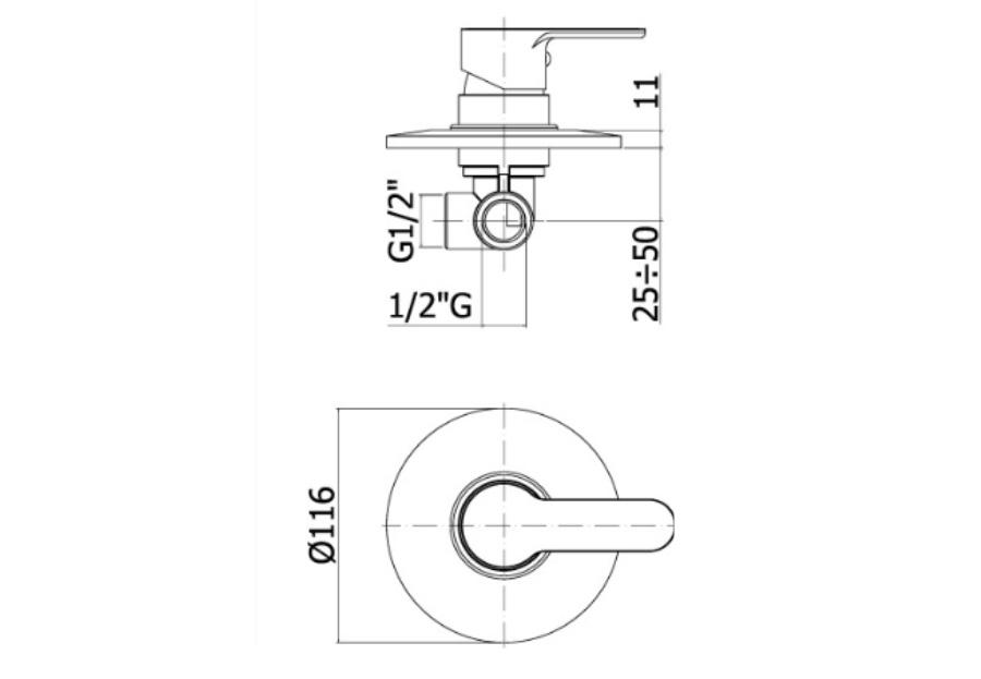 disegno tecnico miscelatore doccia paffoni blu