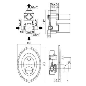 disegno tecnico miscelatore per doccia Paffoni Blu