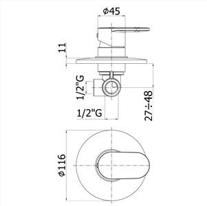 disegno tecnico rubinetto per doccia candy paffoni