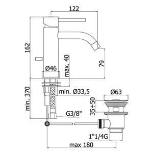 miscelatore lavabo light disegno tecnico