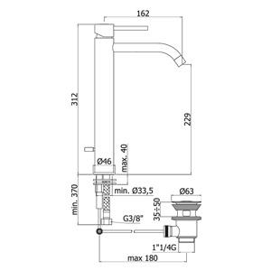 disegno tecnico paffoni light per lavabo