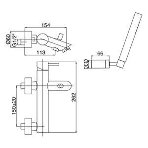disegno tecnico miscelatore vasca Paffoni Light