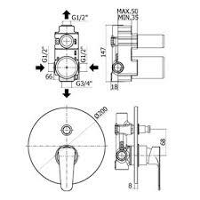 disegno tecnico miscelatore sly per doccia