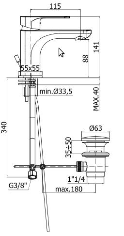 disegno tecnico paffoni sly lavabo sy075
