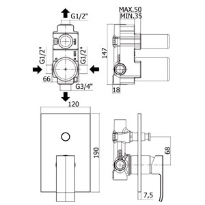 dimensioni miscelatore con deviatore paffoni level doccia