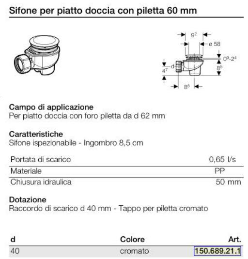 SIFONE-DOCCIA-GEBERIT-60MM
