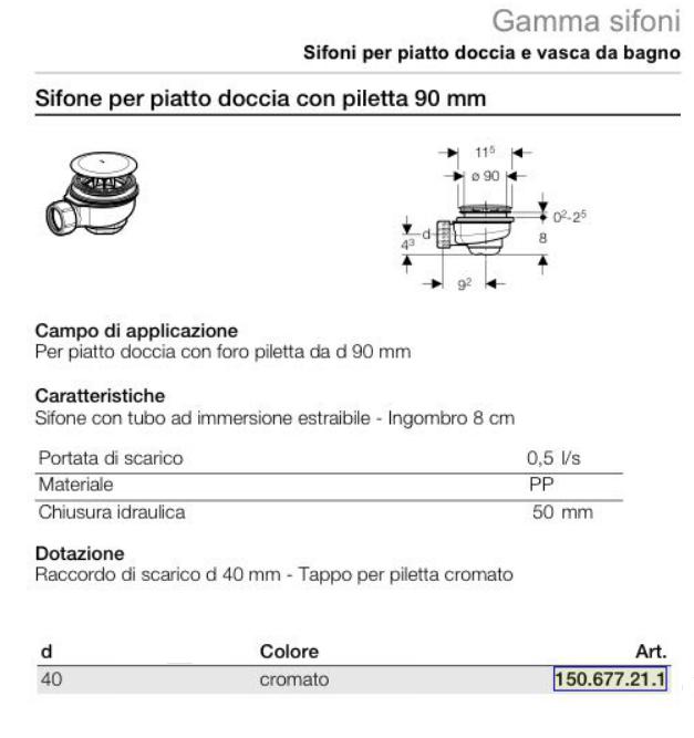 Sifone geberit per piatto doccia con piletta 90 mm - Piatto doccia piastrellabile ...