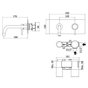 disegno tecnico miscelatore lavandino da incasso stick