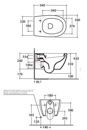Wc con bidet combinato due in uno globo 4all for Misure sanitari sospesi