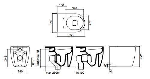 Vaso Wc A Pavimento Filo Muro Disegno Ceramica Skip Scarico Traslato