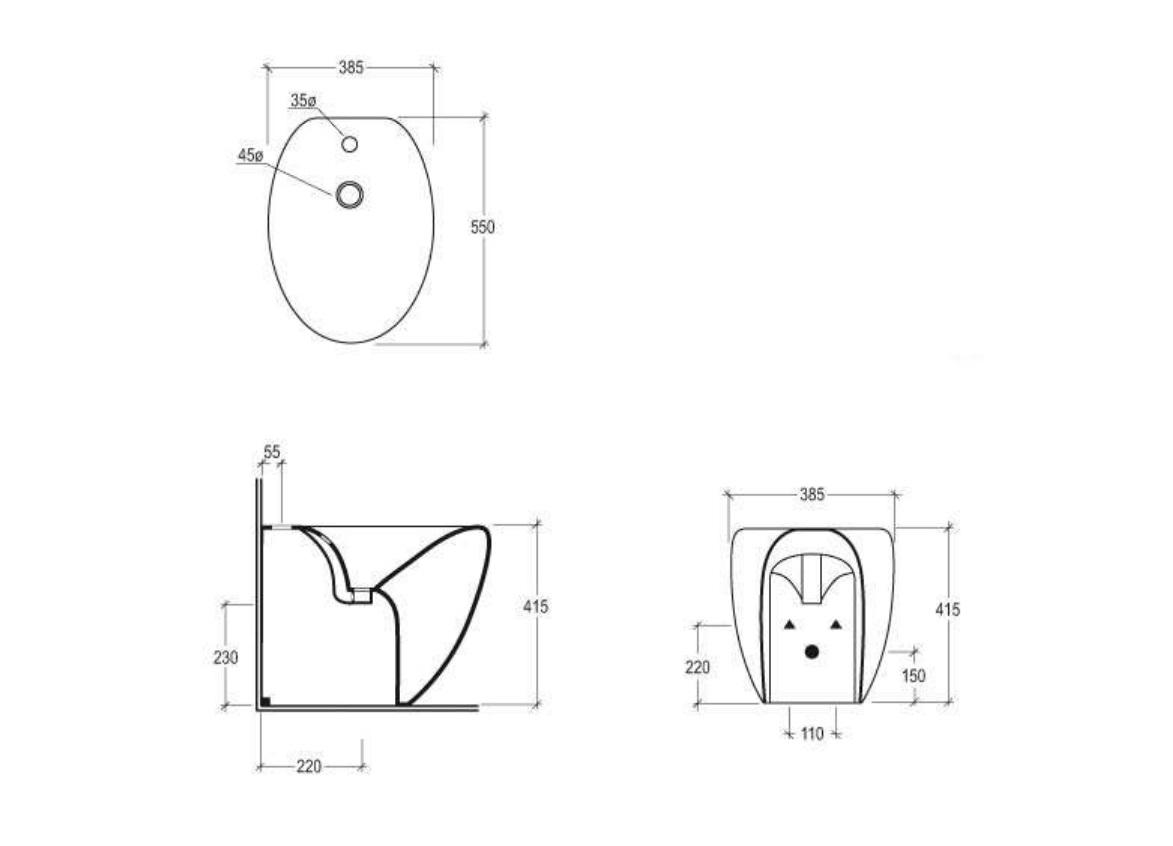 Vaso e bidet a pavimento gsg ceramic design linea touch for Sanitari bagno misure ridotte