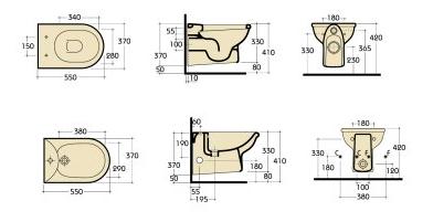 Vaso e bidet sospeso serie misura globo - Misure water e bidet ...